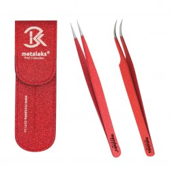 Best Eyelash Extension Tweezers With Red Metallic Powder Coated With Red Magnetic Double Tweezers Pouch