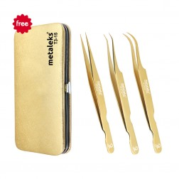 3PCS Complete Gold Titanium Coated Volume Tweezers Eyelash Extension Set With Gold Metallic Magnetic Pouch